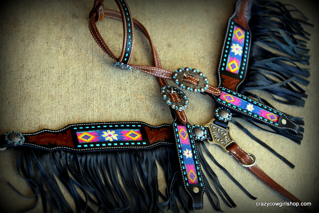 Serape and Copper one ear set with wither strap - $128 00